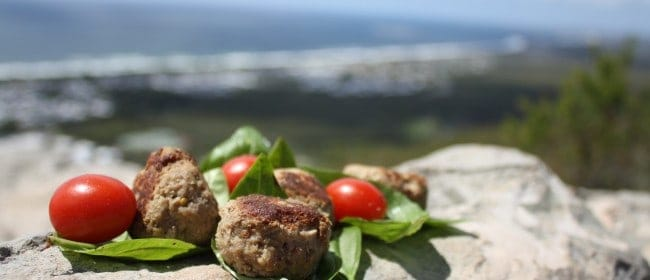 meatballs in the sky with basil