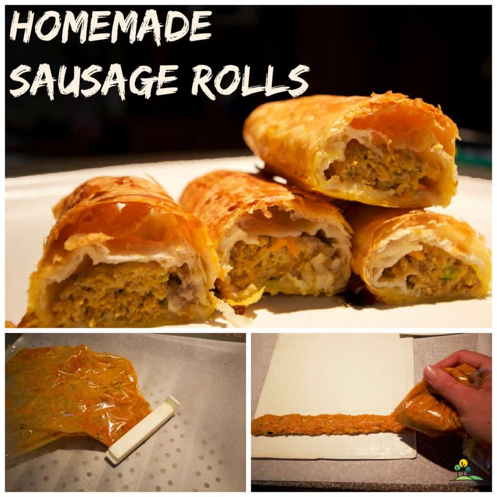 homemade sausage rolls collage