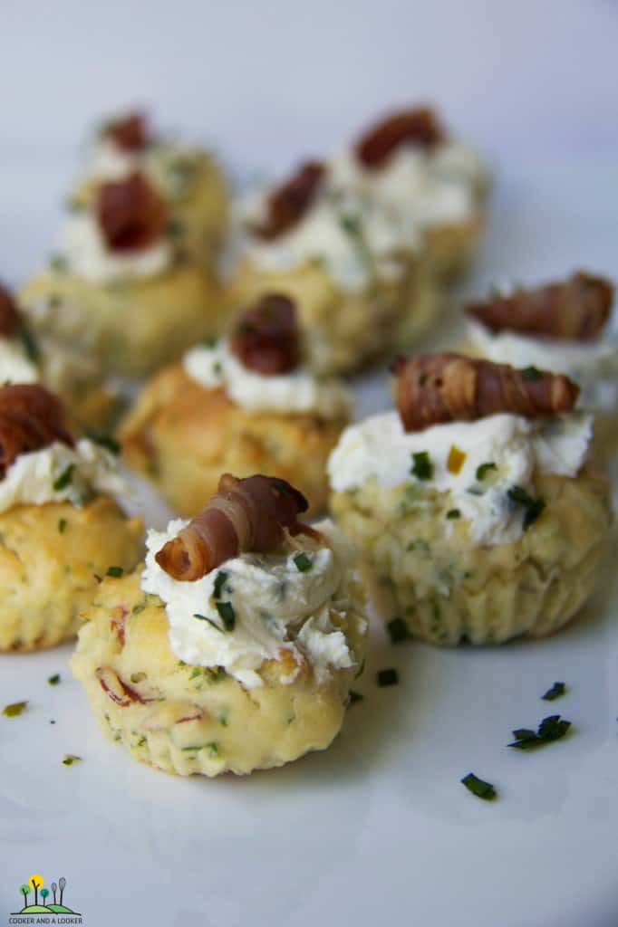 bite sized scones with proscuitto