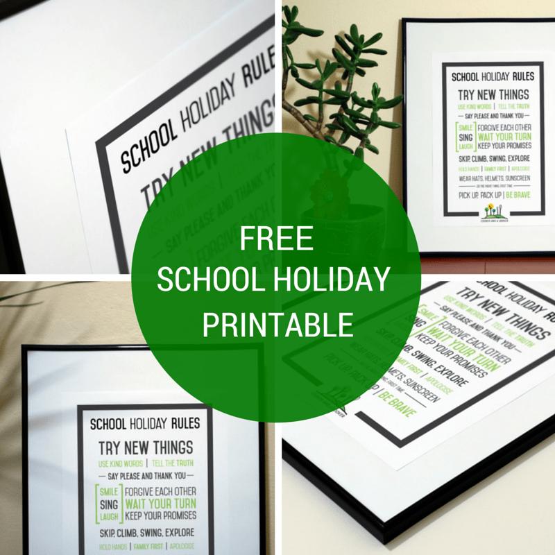 FREE school holiday printable