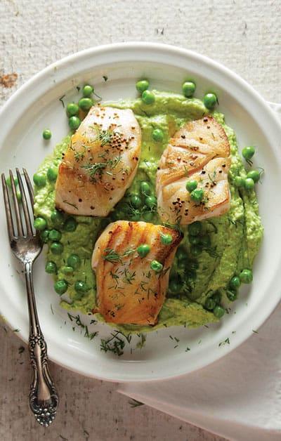 sauteed cod with pea cream