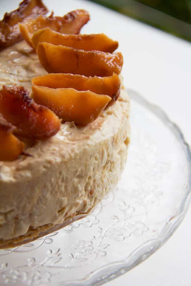 roasted nectarine and ginger syrup cheesecake